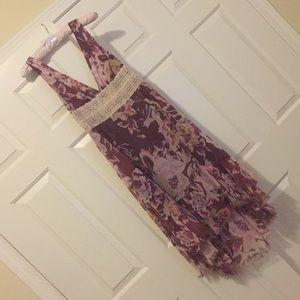 Purple chiffon floral dress with lace